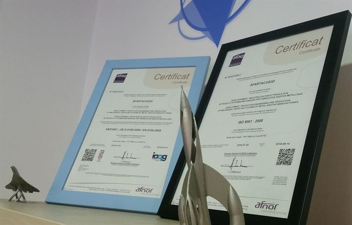 certifications quality spartacus3D aerospace en 9100 iso 9001